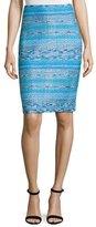 St. John Imani Tweed Knit Pencil Skirt, Blue Pattern