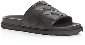 Bottega Veneta Men's Woven Leather Slide Sandals