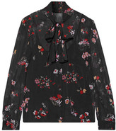 RED Valentino Pussy-bow Printed Stretch-silk Chiffon Blouse - Black