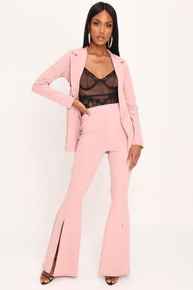 I SAW IT FIRST Blush Pink Split Front Flare Trousers
