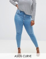 Asos RIDLEY Skinny Jeans In Light Blue Anais Wash