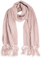 Fringe-Detailed Textured Knit Scarf
