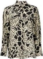 Alberta Ferretti long sleeve animal-print silk shirt