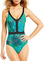 Jantzen Palm Springs V-Neck Tummy Control One Piece