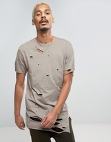 Asos Super Longline T-Shirt With All Over Distressing And Mismatched Seams In Beige Wash