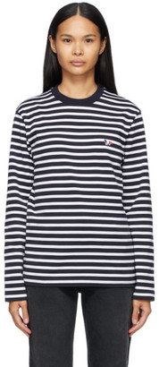 MAISON KITSUNÉ Navy and White Marin Fox Patch Long Sleeve T-Shirt