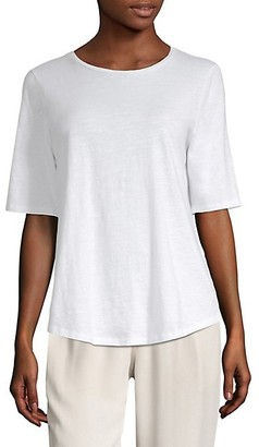 Eileen Fisher Organic Cotton Slub Elbow-Sleeve Top