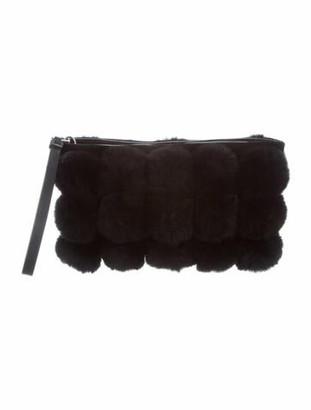 Alexander Wang Roxy Fur Clutch Black
