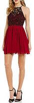 B. Darlin Lace-Bodice Chiffon-Skirt Fit-and-Flare Dress