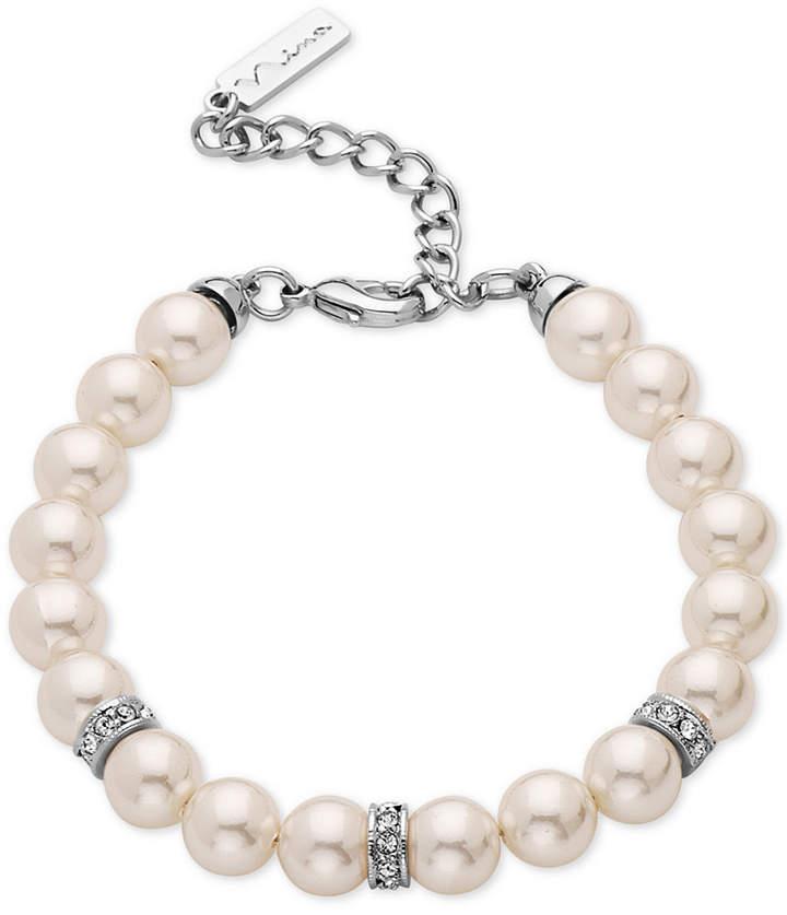 Nina Silver-Tone Pavé and Imitation Pearl Bracelet