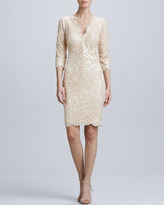 Tadashi Shoji Sequined Lace Cocktail Dress, Jute