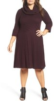 Eliza J Cowl Neck Fit & Flare Sweater Dress (Plus Size)
