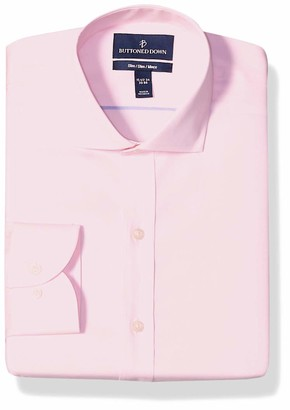 Buttoned Down Slim Fit Cutaway Collar Solid Non-Iron Dress Shirt Light Pink/No Pockets 15 Inches Neck 35 Inches Sleeve