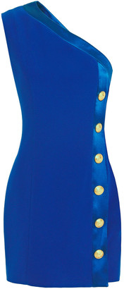 Balmain One-shoulder Button-embellished Crepe Mini Dress