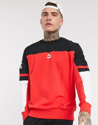 Puma XTG crew neck high sweatshirt in red