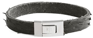 Tateossian Stainless Steel Leather Distressed Bracelet