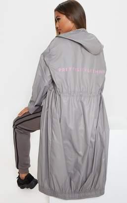 PrettyLittleThing Grey Maxi Hooded Windbreaker