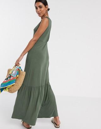 ASOS DESIGN v neck maxi dress with full pep hem in khaki