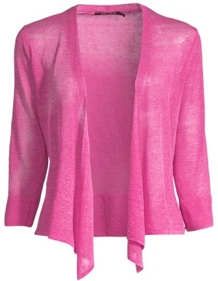 Nic + Zoe, Plus Size Plus 4-Way Linen-Blend Cardigan