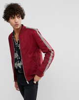 Asos Muscle Fit Bomber Jacket With Side Stripe In Burgundy