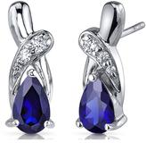 Ice 2 CT TGW Teardrop-Shaped Blue Sapphire Sterling Silver Earrings with CZ Accents