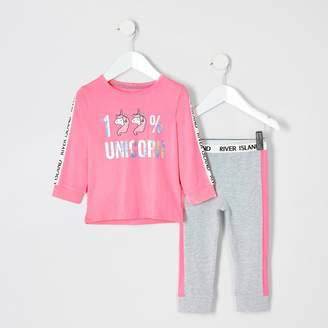 River Island Mini girls pink unicorn pyjamas
