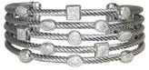 David Yurman 925 Sterling Silver with Diamond Five Row Confetti Cuff Bracelet