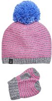 Cuddl Duds Toddler Girl Striped Beanie & Mittens Set