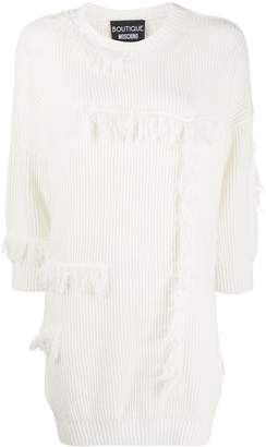 Boutique Moschino Fringed Ribbed-Knit Dress
