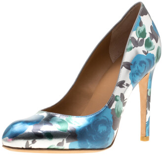 Marc by Marc Jacobs Metallic Silver Floral Printed Foil Leather Pumps 38.5