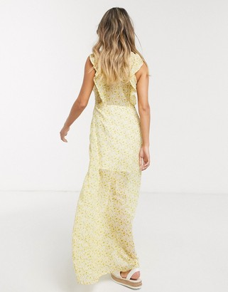 Gilli button down maxi dress with ruffle detail in yellow floral