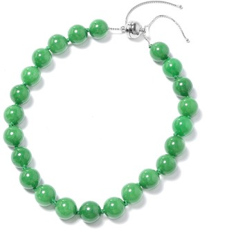 Shop Lc Silver Beads Green Dyed Jade Beaded Necklace Size 18-24 Inch Ct 1006.8 - Size 18-24''