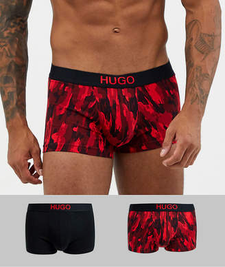 HUGO bodywear 2 pack trunks with camo print-Black