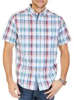 Nautica Classic Fit Bright Plaid Short-Sleeve Cotton Shirt