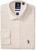 U.S. Polo Assn. Men's Micro Gingham Check Semi Spread Collar Dress Shirt
