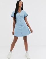 Daisy Street button through skater dress with tie waist in fine cord