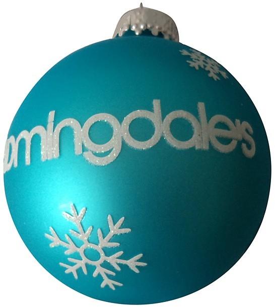 Kurt Adler Bloomingdale's Neon Snowflake Glass Ball Ornament, Teal