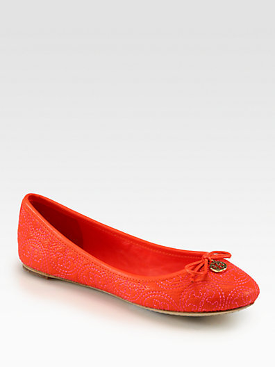 Tory Burch Chelsea Leather Stitched Logo Ballet Flats