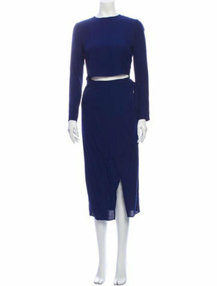 Reformation Crew Neck Midi Length Dress Blue