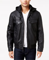 INC International Concepts Men's Croydon Faux-Leather Hooded Jacket, Only at Macy's