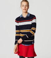 LOFT Stripe Notched Sweater