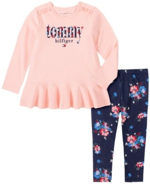 Tommy Hilfiger Toddler Girls Two Piece Knit Tunic Top with Floral Print Leggings Set