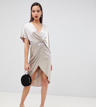 Asos Tall ASOS DESIGN Tall midi dress in velvet with asymmetric kimono sleeve