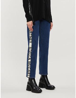 Stella McCartney Logo-tape tapered high-rise stretch-denim jeans