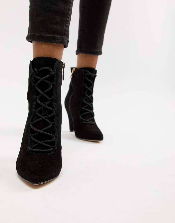 23ac14ea035 London Vivian black suede lace up heeled ankle boots