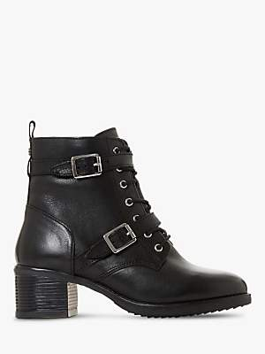 Dune Paxtone Wide Fit Leather Buckle Lace Ankle Boots, Black