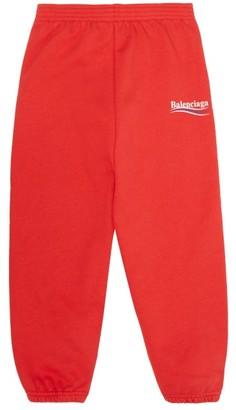 Balenciaga Kids Logo-print Cotton-blend Track Pants - Red