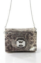 Halston Gray Metallic Leather Turn Lock Shoulder Handbag