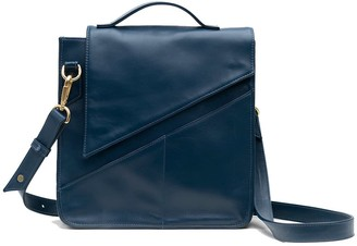 Holly & Tanager Wanderer Leather Crossbody Purse In Navy