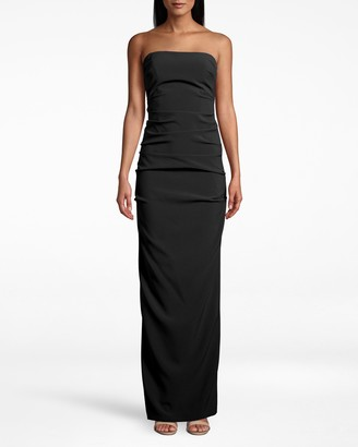 Nicole Miller Techy Crepe Tuck Strapless Gown